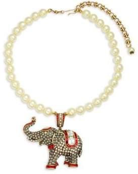 Heidi Daus Faux Pearl Elephant Pendant Necklace