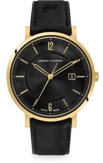 Larsson & Jennings Opera Black& 23K Yellow Goldtone Stainless Steel Leather Strap Watch