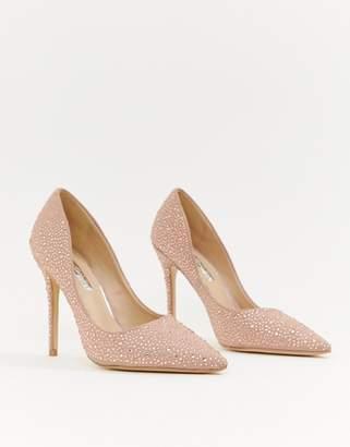 Miss Selfridge court heels with rhinestone embellishment in nude