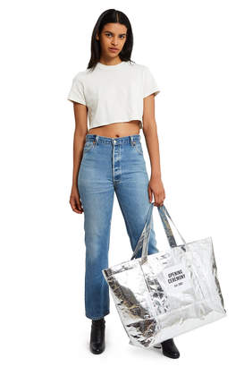 Bags Large Metallic Silver Tote Bag