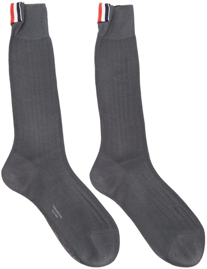 Thom Browne Grey Ribbed Socks