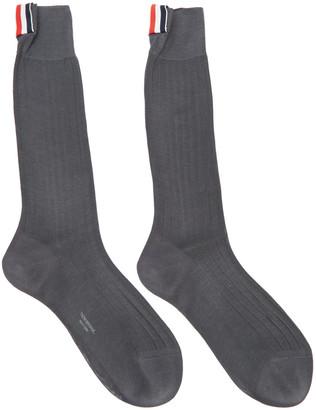 Thom Browne Grey Ribbed Socks $90 thestylecure.com