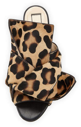 No.21 No. 21 Knot Calf Hair Flat Slide Sandal, Camel Leopard