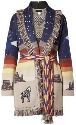 BEIGE Alanui - Fringed Embroidered Cashmere-jacquard Cardigan