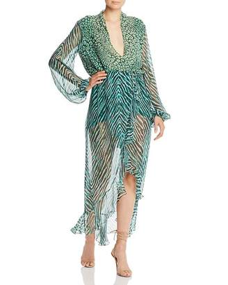 Rococo Sand Leopard & Zebra Chiffon Maxi Dress