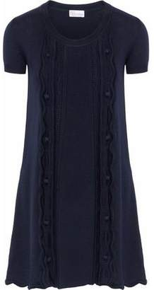 RED Valentino Fluted Cable-Knit Wool Mini Dress