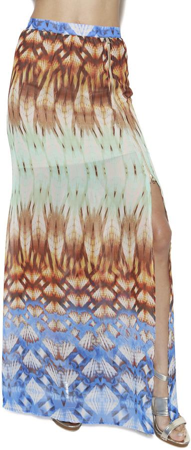 Arden B Kaleidoscope High Slit Maxi Skirt