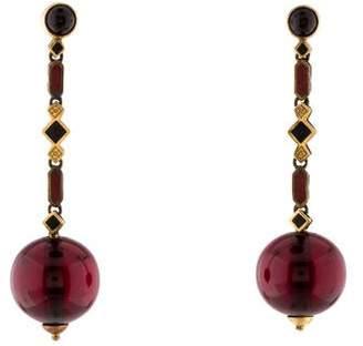 Earrings 14K Antique Amber & Enamel Earrings