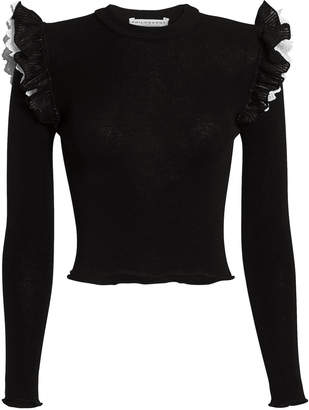 Philosophy di Lorenzo Serafini Ruffled Shoulder Knit Top