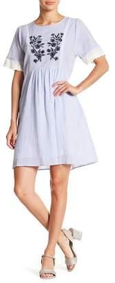 Hazel Embroidered & Striped Dress
