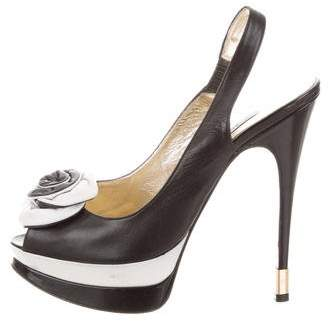 Luciano Padovan Leather Slingback Pumps