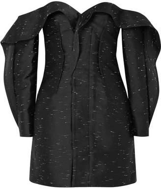Self-Portrait Midnight Ruffled Off-the-shoulder Jacquard Mini Dress - Black