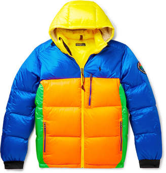 Polo Ralph Lauren Logo-Appliquéd Colour-Block Quilted Shell Hooded Down Jacket