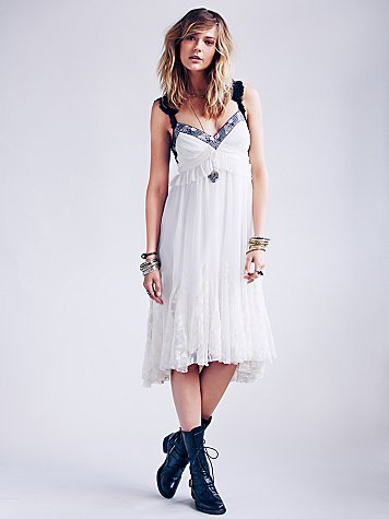 Free People Lace Godet Babydoll Dress