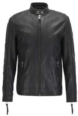 BOSS Hugo Sheepskin Leather Jacket Jeepo 28R Black