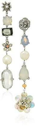 Badgley Mischka Womens Asymmetrical Opal Crystal Linear Drop Earrings