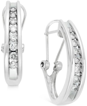 Macy's Diamond Channel-Set J-Hoop Earrings (1/2 ct. t.w.) in 10k White or Yellow Gold