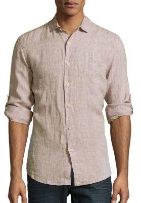 Classic Fit Linen Button-Down Shirt $100 thestylecure.com