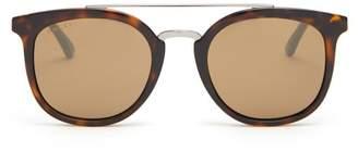 Gucci Round Frame Acetate Sunglasses - Mens - Brown