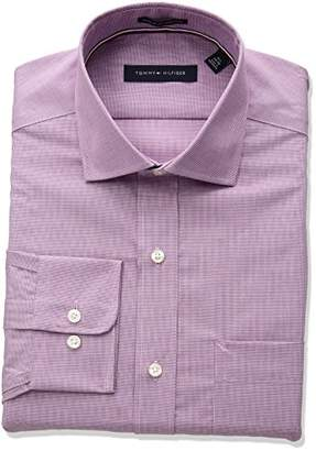 Tommy Hilfiger Men's Non Iron Regular Fit Micro Check Spread Collar Dress Shirt