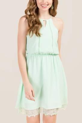 francesca's Lexi Gathered Lace Hem Dress - Mint