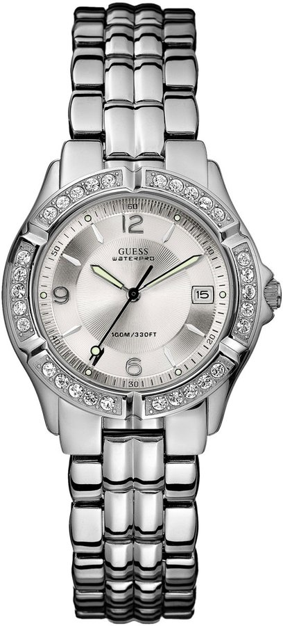 GUESS Silver-Tone Dazzling Midsize Sport Watch