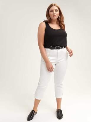 White Capri Jean with Exposed Zip