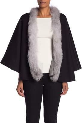 Sofia Cashmere Reversible Genuine Fur Trimmed Cashmere Cape