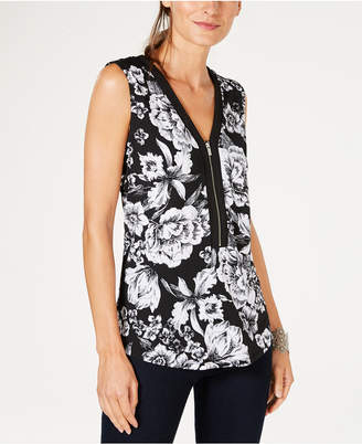 INC International Concepts I.n.c. Printed Zip-Front Tank Top