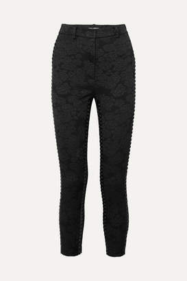 Dolce & Gabbana Cropped Lace-up Floral-jacquard Skinny Pants - Black