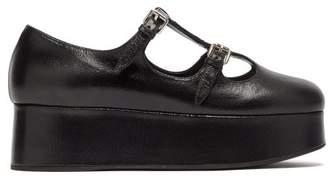 Miu Miu Crackled Leather Mary Jane Flatforms - Womens - Black