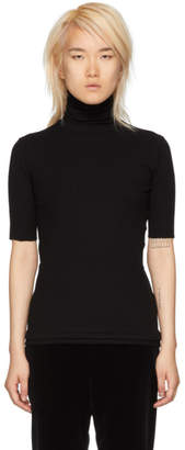 Helmut Lang Black Short Sleeve Turtleneck