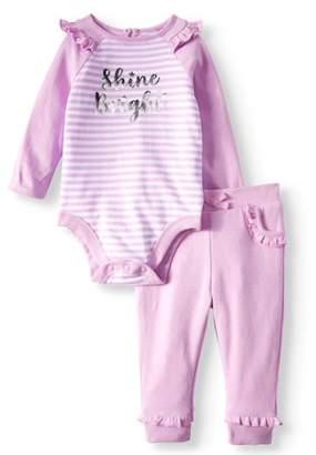 Garanimals Raglan Bodysuit & Ruffle Jogger Pants, 2pc Outfit Set (Baby Girls)