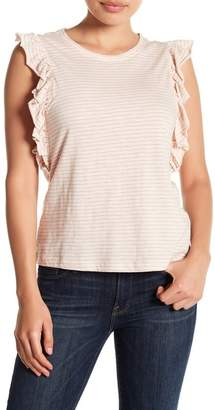 Susina Draped Ruffle Panel Striped Tee (Regular & Petite)