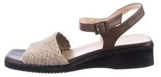 Salvatore Ferragamo Leather Low-Heel Sandals Brown Leather Low-Heel Sandals