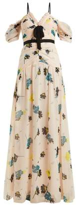 Self-Portrait Self Portrait Floral Print Chiffon Maxi Dress - Womens - Light Pink