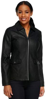 Dennis Basso Faux Leather Perforated Zip Front Jacket