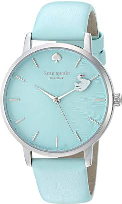 Kate Spade Women's 'Metro' Quartz Stainless Steel and Leather Casual Watch, Color Blue (Model: KSW1409)