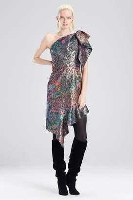 Josie Natori Bohemia Garden Jacquard One Shoulder Dress
