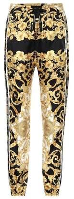 Versace Printed silk twill trackpants