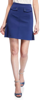 Pinko Side-Split A-Line Mini Skirt with Button Details