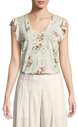 Rebecca Taylor Flutter-Sleeve Faded Floral Jersey Top