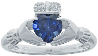 JCPenney FINE JEWELRY Heart-Shaped Lab-Created Sapphire and Diamond-Accent Sterling Silver Claddagh Ring
