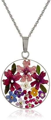 Sterling Silver Roun -Colored Pressed Flower Pendant Necklace