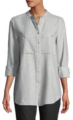 Eileen Fisher Flannel Button-Front Mandarin-Collar Shirt