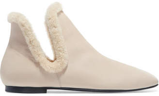 The Row Eros Shearling-trimmed Leather Ankle Boots - Sand