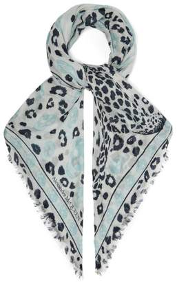 Alexander McQueen Skull And Leopard Print Scarf - Womens - Blue