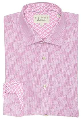 Ted Baker Bengal Endurance Floral Stripe Trim Fit Dress Shirt