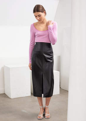 And other stories Front Slit Leather Midi Skirt