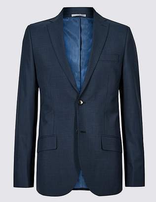 Marks and Spencer Indigo Checked Tailored Fit Jacket